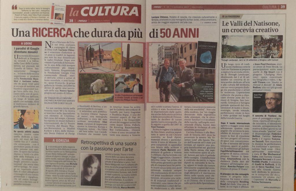 Il Friuli, settimanale udinese del 1 settembre 2017